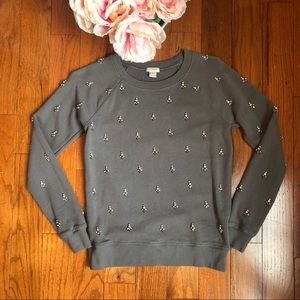 J. Crew Jeweled Gray Sweatshirt Size XS